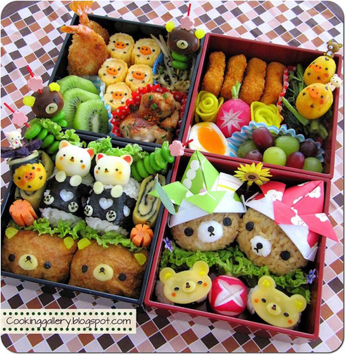 vier Ideen für Mittagessen für kleine Kinder zum Mitnehmen, Mischung von verschiedenen Obst und Gemüse