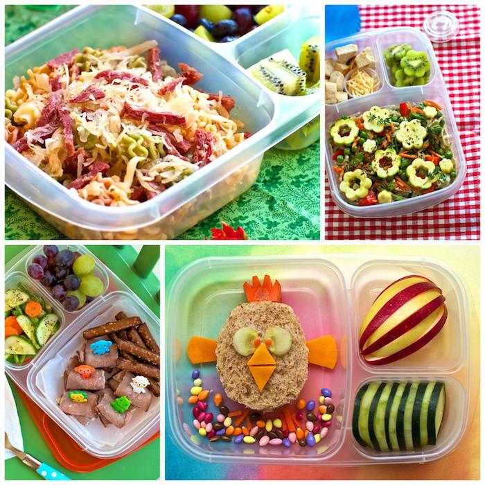 Fotocollage aus vier Bildern, Brotdosen mit Unterteilungen, gemischte Pasta mit Salami, bestreut mit Käse, Kiwi und Trauben zum Dessert