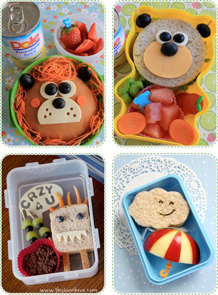 Butterbrot Ideen für die Schule und den Kindergarten, verschiedenes Obst als Dessert, vier verschiedene Mittagmenüs