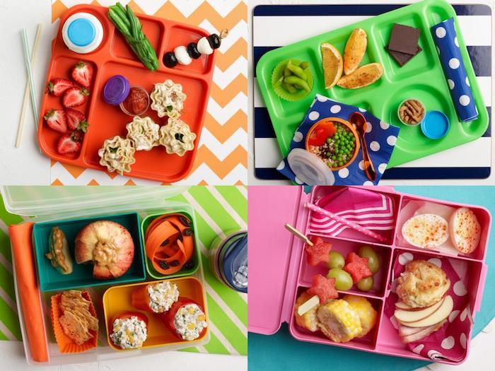vier Ideen für Lunchbox für Kinder, Tischdecken mit Streifenmuster, farbige Servietten mit Punkten