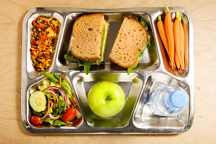 Sandwich aus braunem Brot, Gemüsenudel, Babymöhren, frischer Salat, grüner Apfel, Wasser, Metalltablett