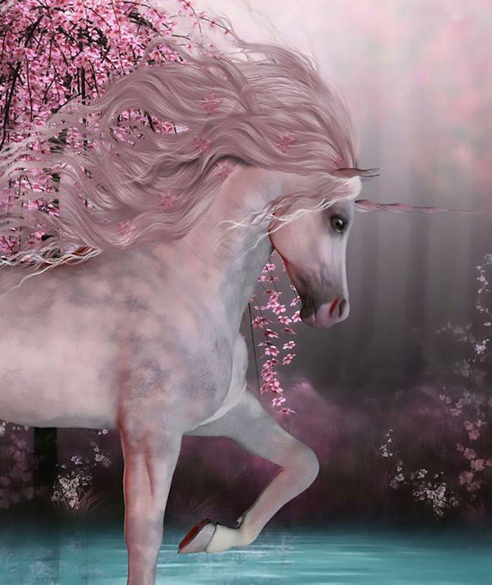 hier ist ein pinkes einhorn mit schwarzen augen und einer langen dichten pinken mähne und einem pinken einhorn, wald mit see und bäume mit pinken blättern - schöne einhorn bilder