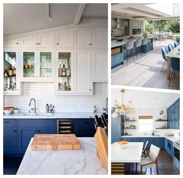 deko ideen küche, einrichtung in modernem landhausstil, weiße oberschränke, inselplatte aus marmor