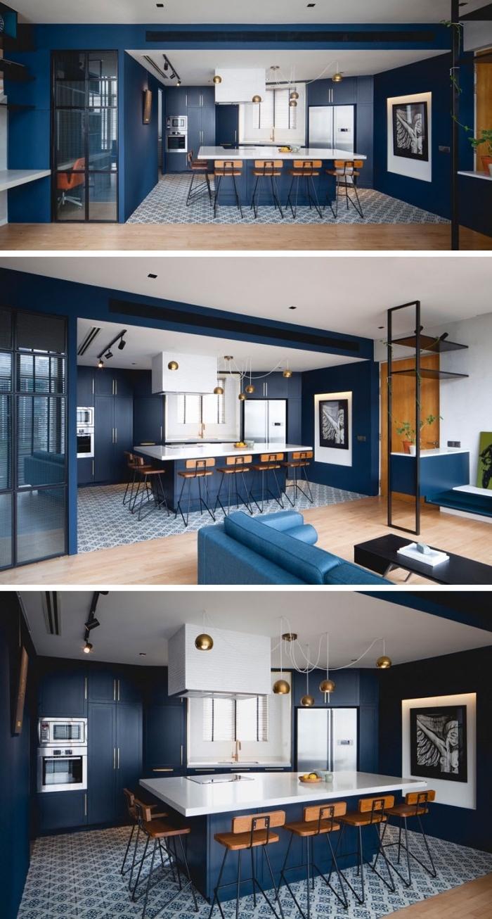 designer küchen bilder, küche gestalten, küchengestaltung in dunkelblaue, moderne küchenfarben