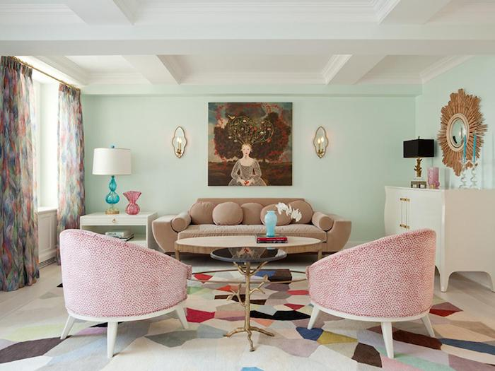 kissen int fabrne dekorieren einrichtung im wohnzimmer sofa mit kissen deko sessel in rosa wandbild frau