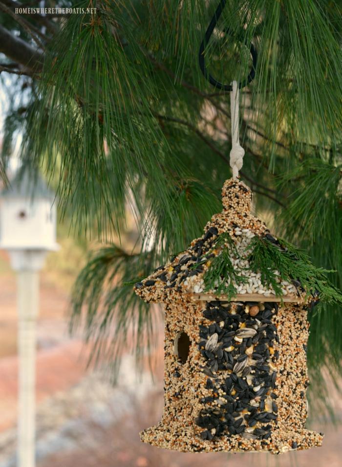 Nistkasten aus Holz mit Samen, Sonnenblumenkernen und Rosinen bekleben, mit Kieferzweigen verzieren