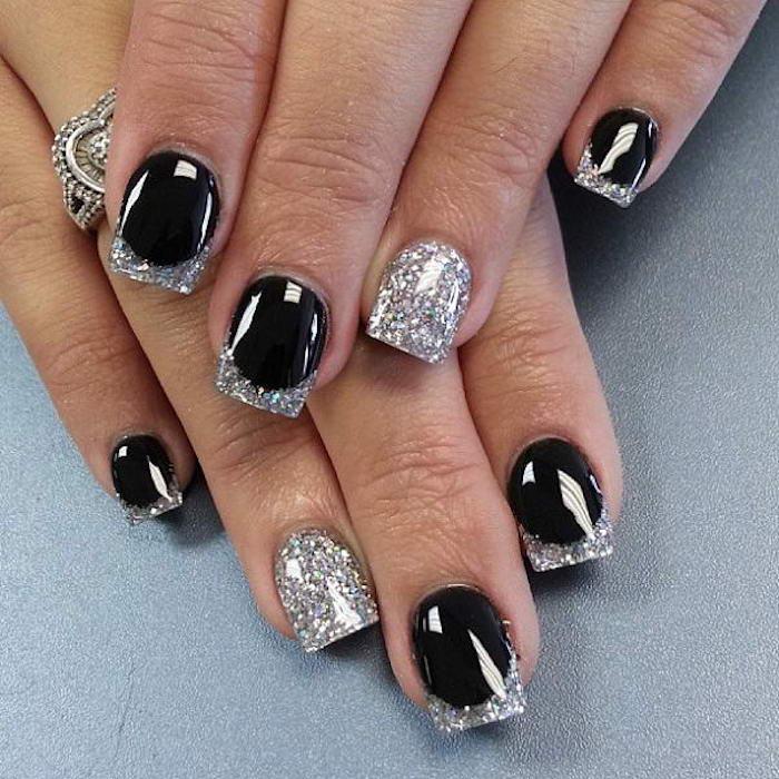 schöne gelnägel selber machen schwarz und silbern klassisches nageldesign zu jedem anlass stilvolle nägel