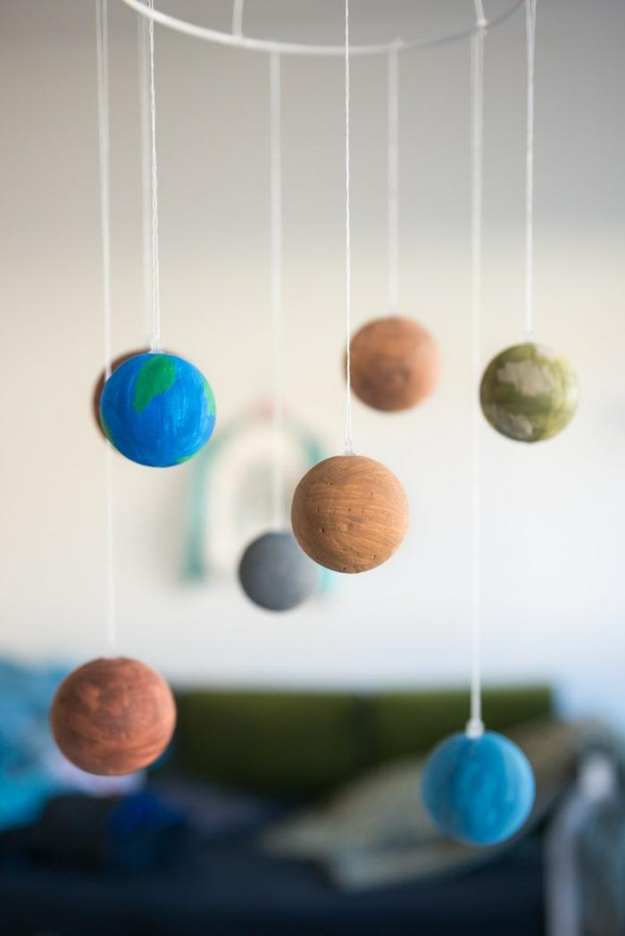 Das Sonnensystem aus Styroporkugeln, kleine Planeten mit Farben bemalt und mit Faden befestigt