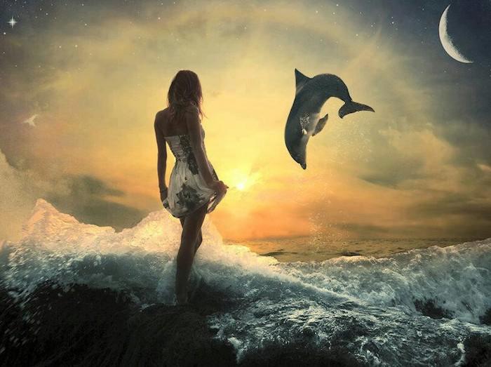 delfine bilder - hier ist ein märchenhaftes bild mit einer jungen fraz, einem großen mond, sonnenuntergang, kleinen sternen, einem meer, wellen und einem grauen delfin