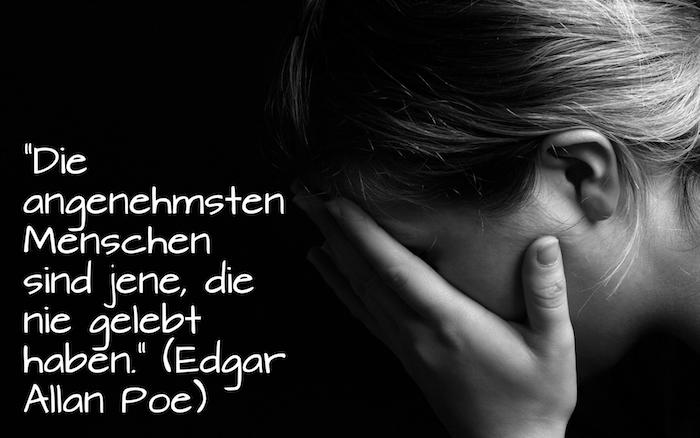 zitat von edgar allan poe zum thema - traurige bilder und traurige sprüche zum weinen - eine traurige junge frau, die weint