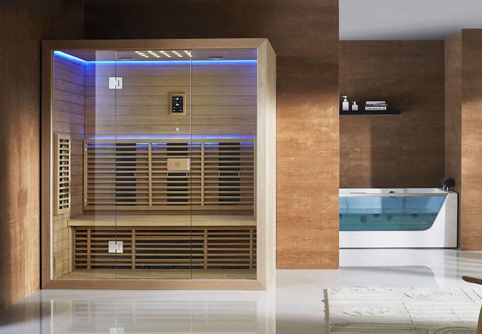 infrarotkabine aus holz und glas, badezimmer einrichten, modernes bad