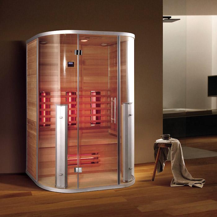 moderne infrarotkabine im badezimmer, wärmekabine aus glas und holz, infrarotsauna