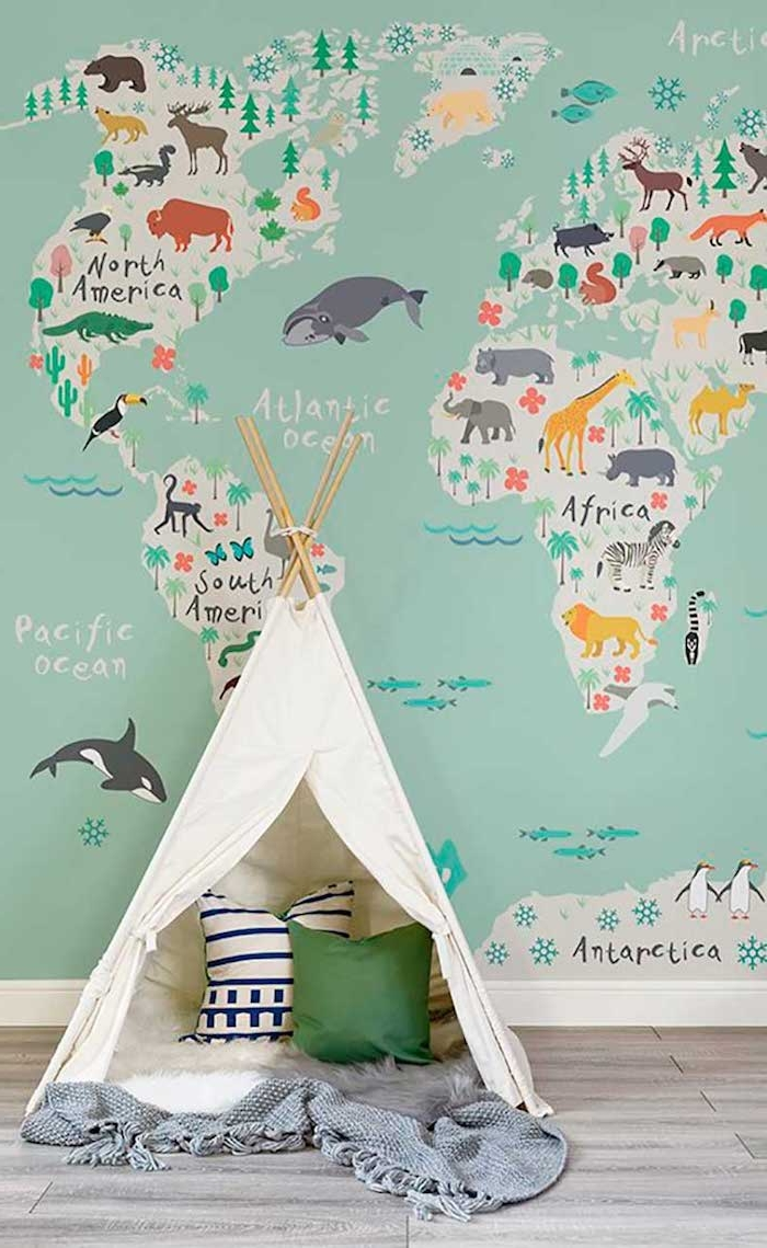 mint programm einrichtung und kreative wandgestaltung im kinderzimmer zelt deko wand tapeten ideen kissen mintgrün