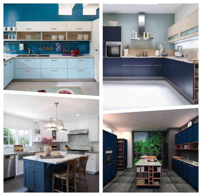 küche deko ideen, moderne küchenmöbel, kücheneinrichtung in weiß und blau, kleiner raum gestalten