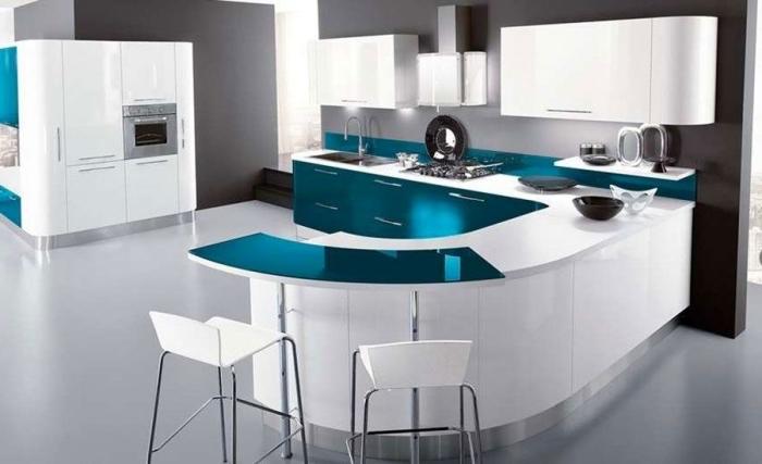 designer küchenschränke, küche gestalten, moerne kücheneinrichtung in weiß und türkis