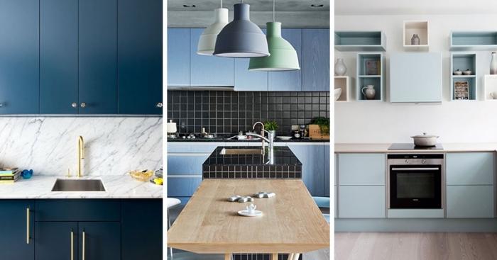 küche modern einrichten, kücheneinrichtung in blau, die bestne ideen, designer möbel, wohnung einrichten