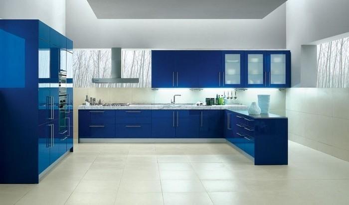 küchenbilder meeresfarbe küchenmöbel einrichtung ideen weiß boden wände