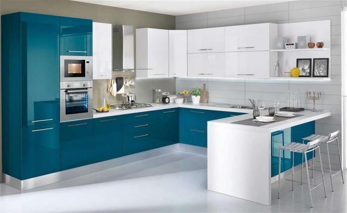 moderne einrichtung in weiß und türkis, küchen aktuell bilder, zimmer einrichten, küchenmöbel