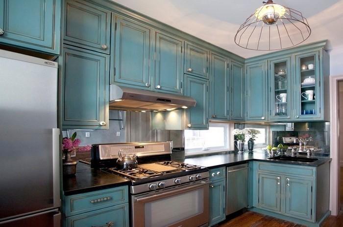küchenbilder küche einrichten blau oder grün farben in der küche moderne wohnung retro motive