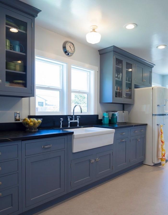 kücheneinrichtungsideen blaue küche gestalten einrichten dekorieren fenster