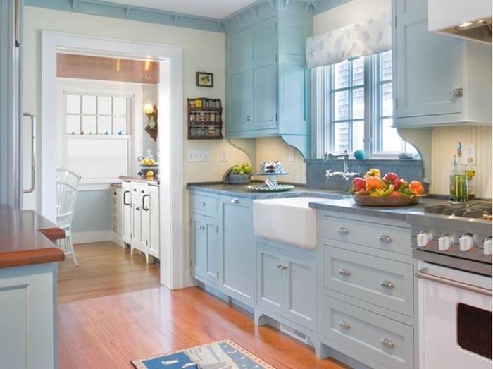 kücheneinrichtung helle küche farben gestaltung ideen frisches obst himmelsblau