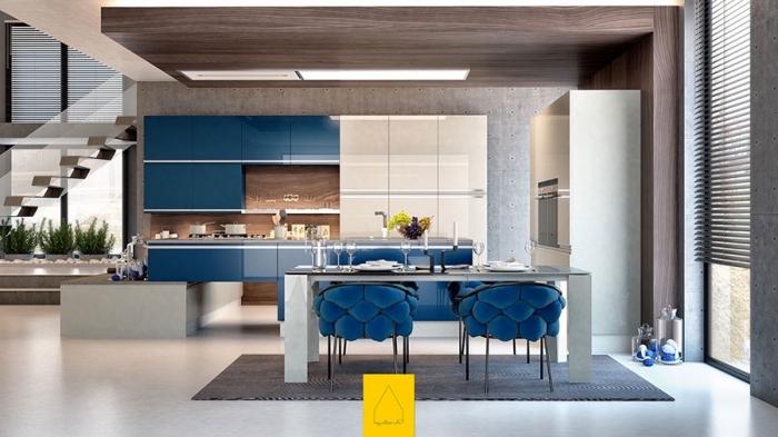 küchen ideen, moderne eirnichtung in blau, weiß und braun, designer stuhle, wohnung einrichten