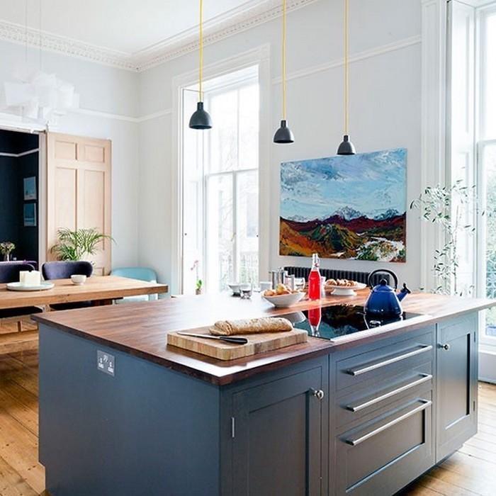 küchen ideen in blau blaue wandblid zur ergänzugng des schönen interieurs blaue möbel in der küche