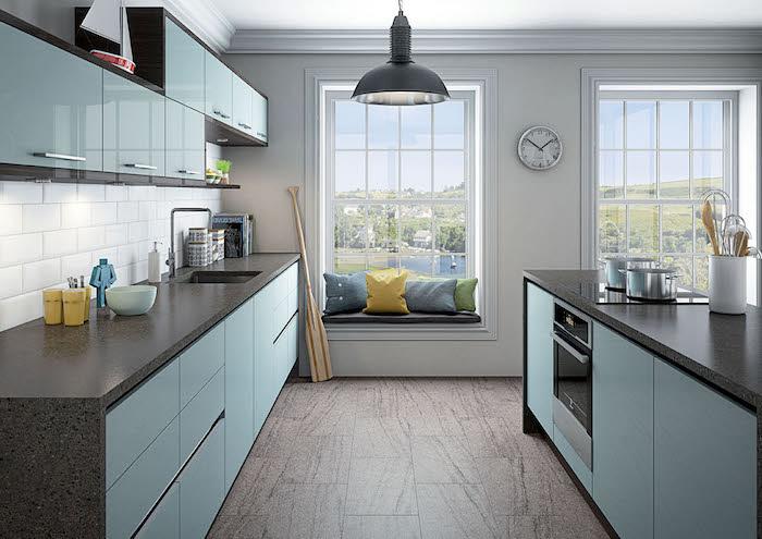 selbstgebaute küche kücheneinrichtung einzigartig schönes design in der küche blau himmelsblau