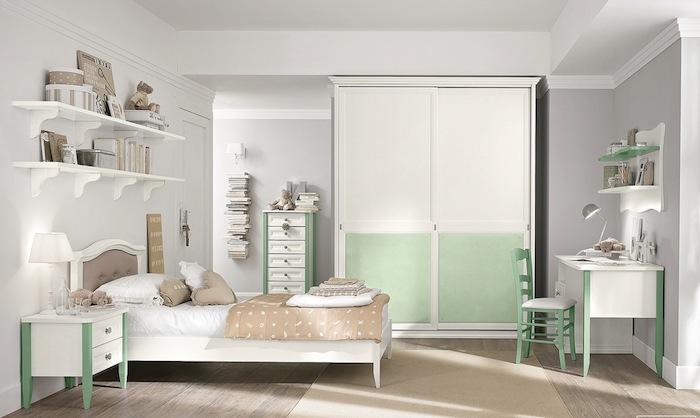 kinderzimmer einrichten dezente farben und deko weiß-beige-grün farben im schlafzimmer