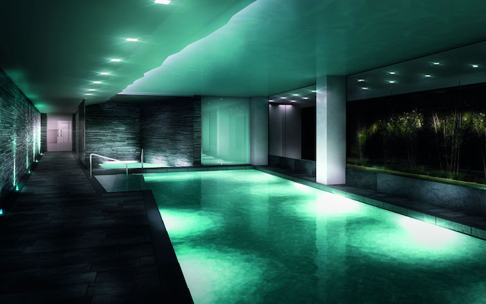 die farbe der erholung und ruhe schwimmpool grün blau lampen decke wand boden