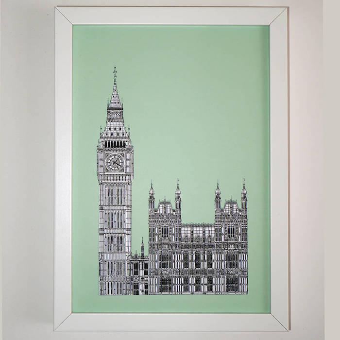 mmint grüne farbe deko an der wand wanddeko bilder london big bed bild wand dekorieren