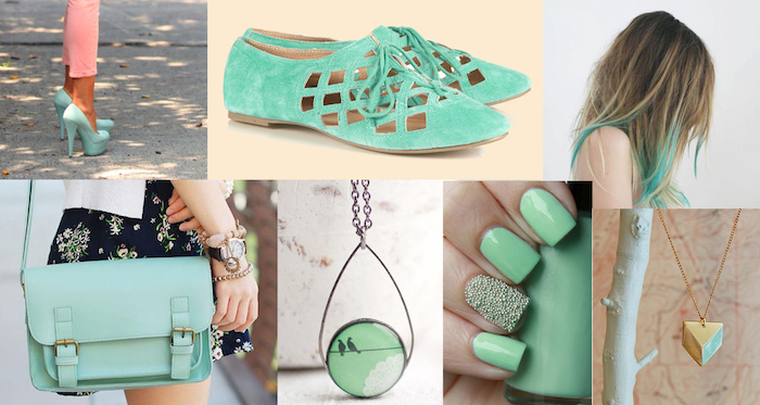 kleider mintgrün accessoires nagellack nageldesign tasche schuhe absatzschuhe kette schmuck und sogar haare in minzgrün
