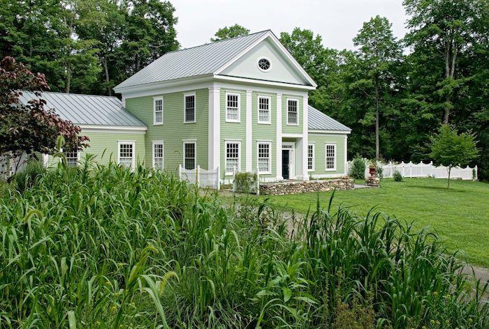 mint farbe haus außen haus mit garten auf dem dorf haben villa grünes gras pflanzen ideen