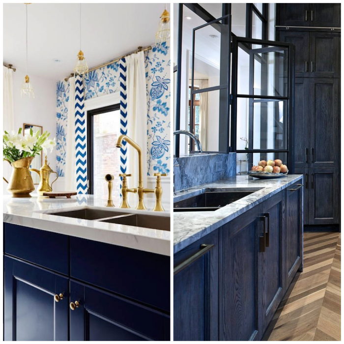 moderne küchen ideen in blau, dunkelblaue küchenschränke, waschbecken aus marmor, elemente aus messing