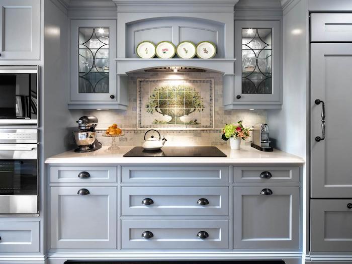 küche vorher nachher schönes design farben in der küche mix von blau und grau dezente einrichtung stilvolle küchenausstattung