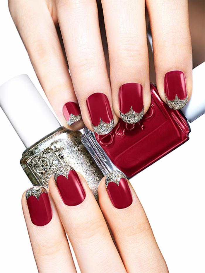 Dunkelrote Nägel mit Glitzer-Spitzen, ovale Nagelform, silberner Nagellack, Idee für Weihnachtsnägel