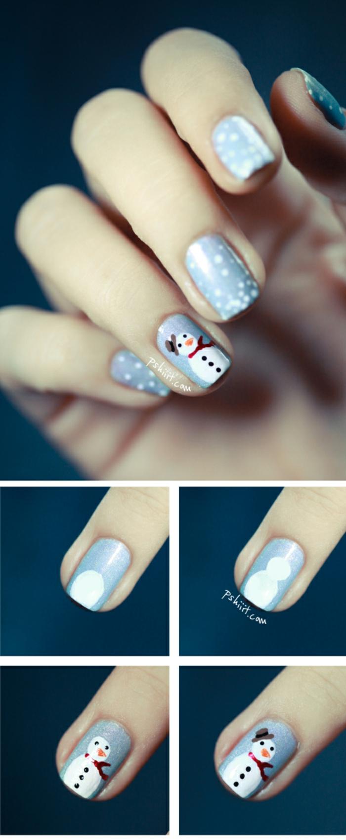 Winternägel mit Schneemann und kleinen Schneeflocken in vier Schritten, hellblauer Grund, ovale Nagelform