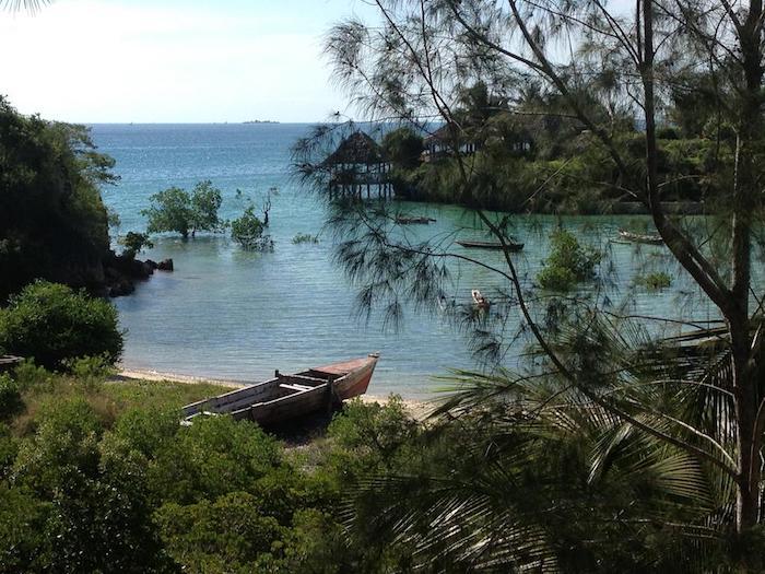 zanzibar urlaub wasser blaues wasser böume grüne pflanzen boot palmen tolles foto vom oben
