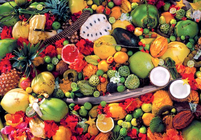 insel sansibar exotische früchte tropisches essen typisches obst jackfrucht orangen ananas kokosnuss mango fruchtsalat