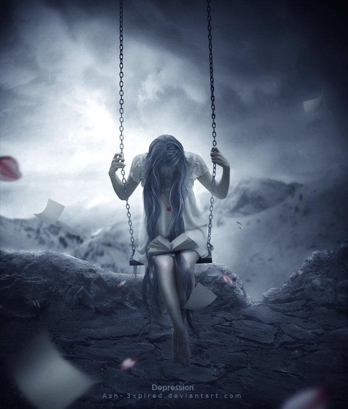 hier ist eine junge traurige frau mit einer schaukel, berge und schnee, ein sehr trauriges bild