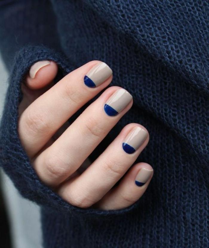 Schlichtes Nageldesign in Creme und Dunkelblau, ovale Nagelgorm, winterliche Maniküre zum Nachstylen