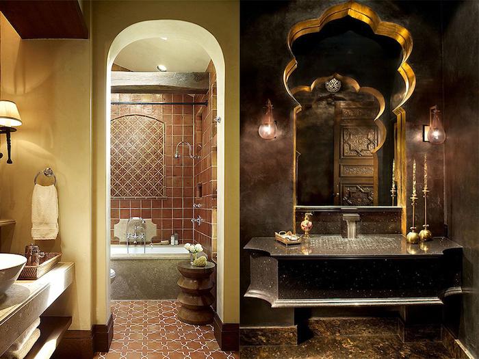 badezimmergestaltung in marokkanischen stil, bad in orange, braun und gold