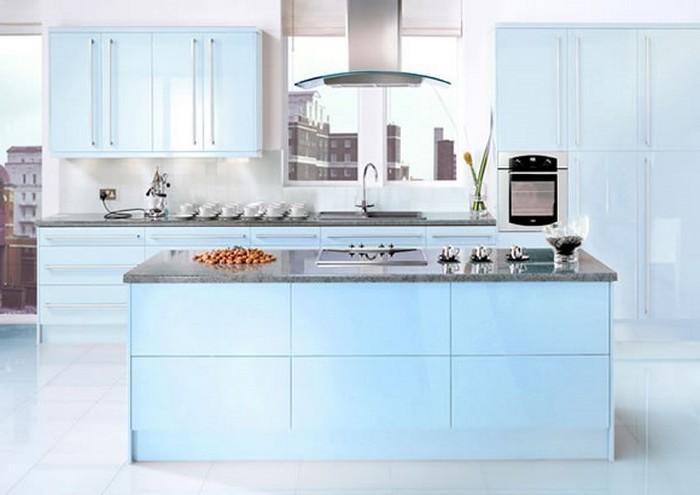 küchen modern ausgefallenes interieur design in der küche blaue möbel passen überall