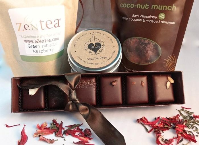 schokolade vegan zum geschenk geben schenken geschenkidee für gourmer lieber zen tee kakaobohnen rohe creme und schokopralinen