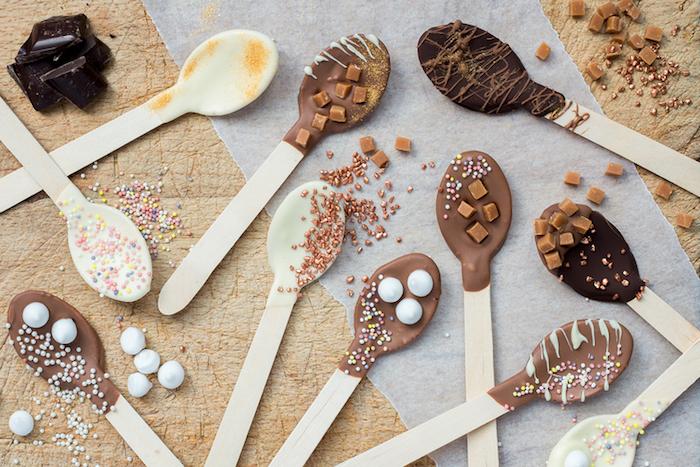 schokolade ohne milch zubereiten löffel für heiße schokolade schöne ideen zum naschen deko bio