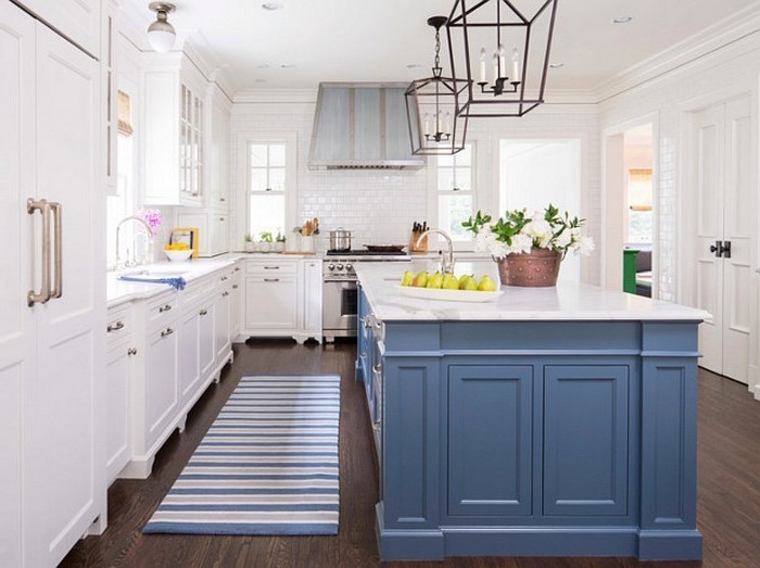 designer küchen kücheneinrichtung schöne küche blau weiß teppich in der küche