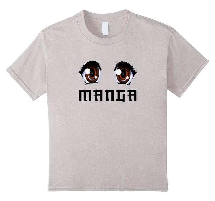 ein beiges T-shirt bedrucken - große braue manga Augen und eine Aufschrift