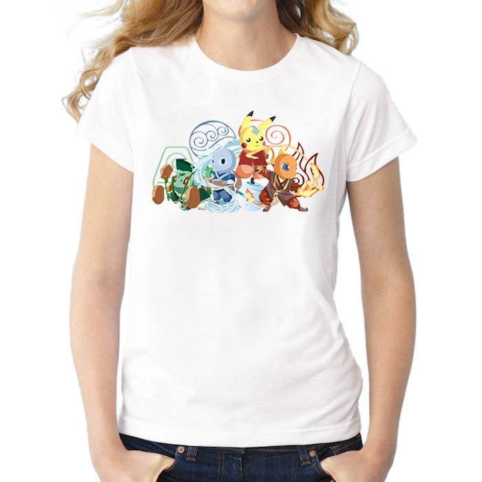 ein weißes T-shirt mit den beliebten Pokemons wie Helden von Avatar - T-shirt bedrucken