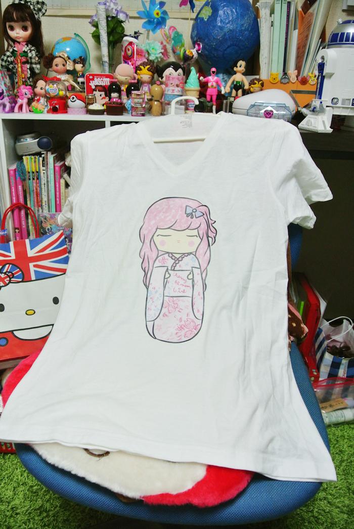 diese Sammlung brauchte nur bedruckte T-shirts in rosa Farbe mit japanischem Motiv