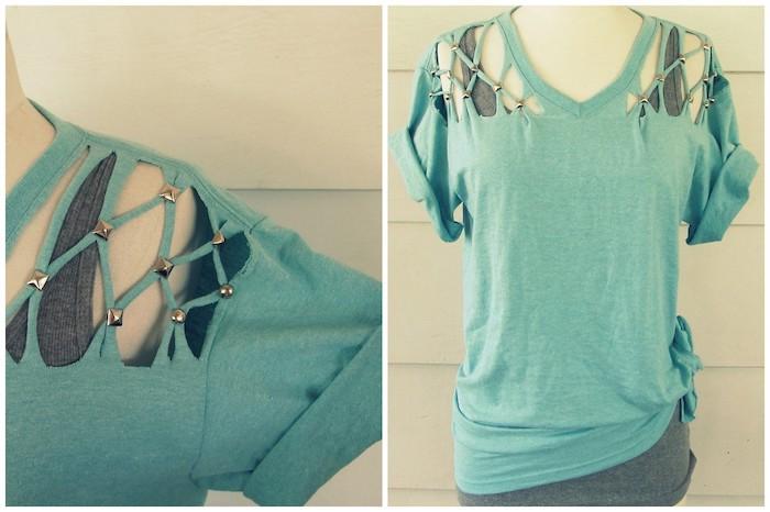 restyle Ihr altes T-shirt mit kleinen Glasperlen, damit es verschieden aussieht - t-shirt selber machen